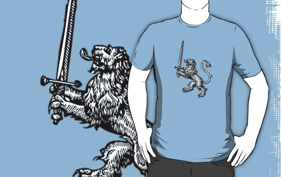 Lion with Sword - Cool T-Shirt Design by troyw