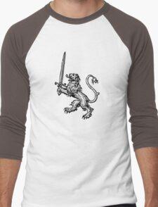 Lion with Sword - Cool T-Shirt Design Men's Baseball ¾ T-Shirt