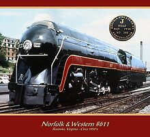 Norfolk & Western #611 - Roanoke, Virginia - Circa 1950's by TrainmasterBob