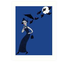 Weird woman with midnight bats Art Print