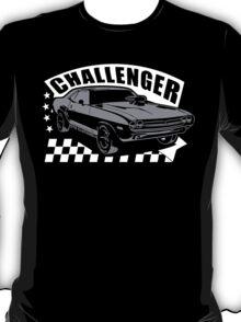 Dodge Challenger | Grey - White T-Shirt