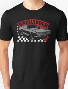 Dodge Challenger   Grey - Red - White Unisex T-Shirt