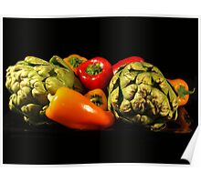 ARTICHOKES AND PEPPERS Poster