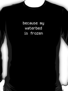 because my waterbed is frozen T-Shirt