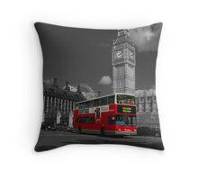 Big Ben and London Bus Throw Pillow