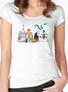 Ghibli Friends  Women's Fitted Scoop T-Shirt