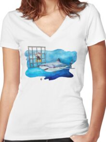 Da Dum x 3 Women's Fitted V-Neck T-Shirt