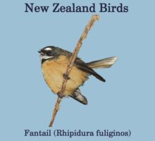 Fantail T-Shirt - New Zealand Bird Series by AndreaEL