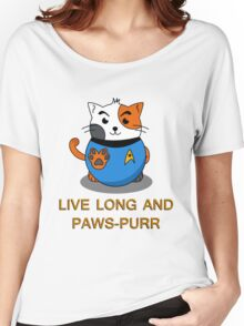 LIVE LONG AND PAWS-PURR Women's Relaxed Fit T-Shirt