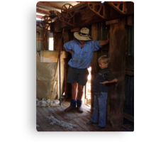 The shearer and his son Canvas Print
