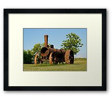 Antique Tractor - A Rusty Relic on a Farm Framed Print
