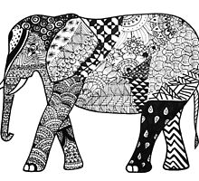 Zentangle Elephant by gilraae