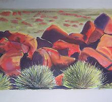 Rocks in Central Australia. Taken from a photograph in Australian Geographic by ValM