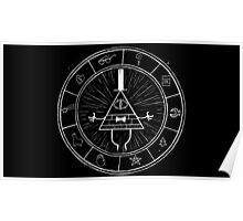 Gravity Falls Bill Cipher - White on Black Poster