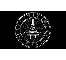 Gravity Falls Bill Cipher - White on Black Photographic Print