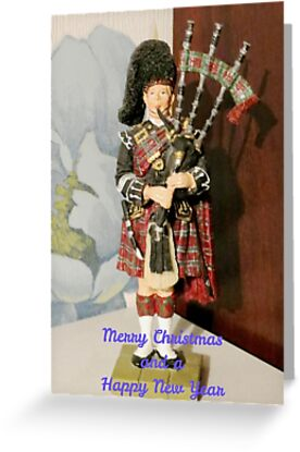 Scottish piper christmas and new year card greeting cards by greeting cards tags greetings christmas new year piper music scottish m4hsunfo
