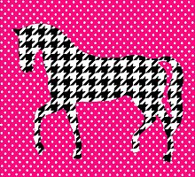 """""""Busy Horse in Hound"""" Hounds tooth Equine Polka Dot Hot Pink Black White by CanisPicta"""