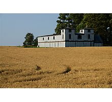 The Ancient Double Tower Barn in Golden Wheat Photographic Print