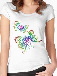 Rainbow Butterfliez Women's Fitted Scoop T-Shirt