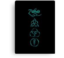 NEW DESIGN - Ancient Pagan Symbols (V) - Super Shiny Teal Canvas Print