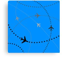 """""""Come Fly Away"""" Airplanes Flying Blue  Canvas Print"""