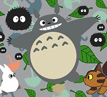 """Totoro in Motion"" My Neighbor Catbus Soot Sprite White Blue Leaf Umbrella Kawaii Stuido Ghibli  by CanisPicta"