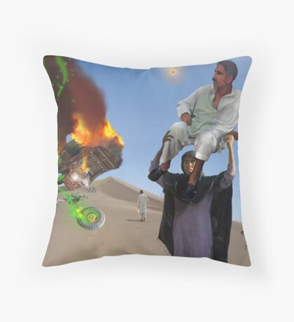 A Woman has got to do a Man's job at the Crash landing on the Moon of New Khanpur Throw Pillow