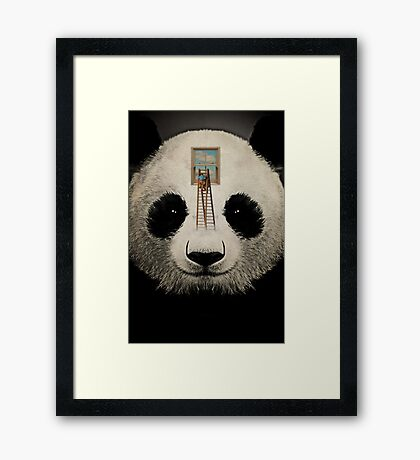 Panda window cleaner 03 Framed Print