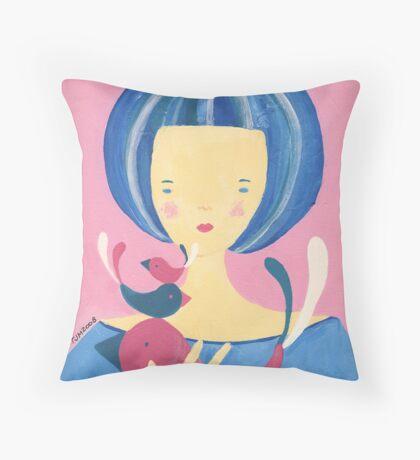 Girl with birds Throw Pillow