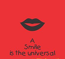 A Smile is the universal Typography Inspirational Quotes by Labno4
