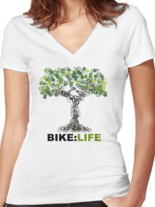 BIKE:LIFE tree Women's Fitted V-Neck T-Shirt