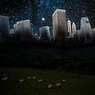 Sheep and the city by Kurt  Tutschek