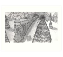 TRAIN IN THE SNOW Art Print