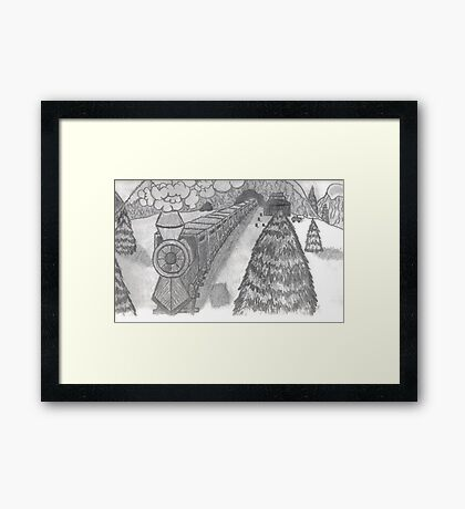 TRAIN IN THE SNOW Framed Print