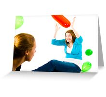 Playing with balloons Greeting Card