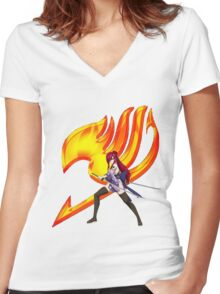 Erza Fairy Tail 10 Women's Fitted V-Neck T-Shirt