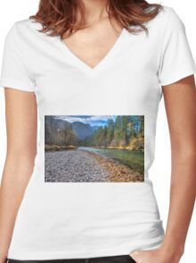 River bank Women's Fitted V-Neck T-Shirt