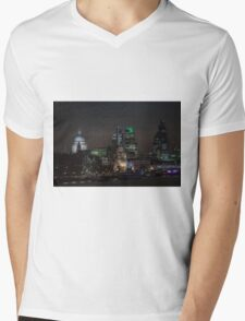 St Pauls the Shard and the river Mens V-Neck T-Shirt