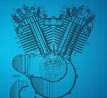 Harley Engine patent from 1919 - Blue by chris2766