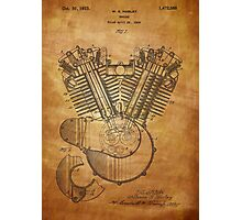 Harley Engine patent from 1919  Photographic Print