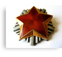 RED STAR COMMUNISTS PIN Canvas Print
