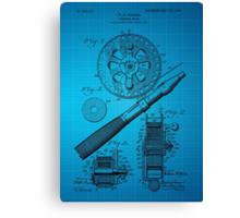 Fishing Reel Patent 1906 - Blue Canvas Print