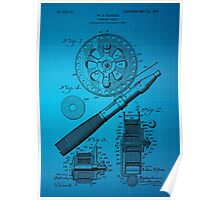 Fishing Reel Patent 1906 - Blue Poster