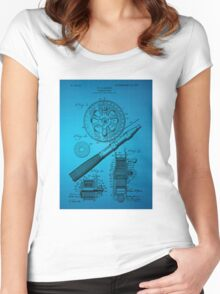 Fishing Reel Patent 1906 - Blue Women's Fitted Scoop T-Shirt