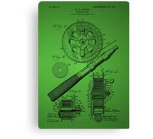 Fishing Reel Patent 1906 - Green Canvas Print