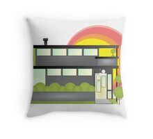 Shape House with Sunset Throw Pillow