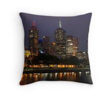 Melbourne night lights Throw Pillow