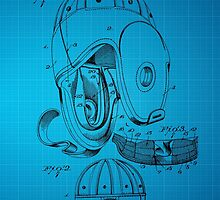Football Helmet Patent  From 1927 - Blue by chris2766