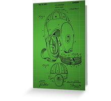 Football Helmet Patent  From 1927 - Green Greeting Card
