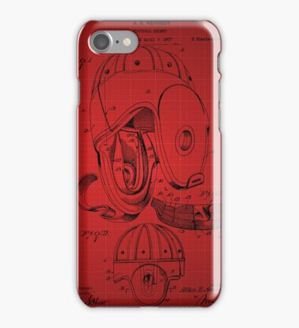 Football Helmet Patent  From 1927 - Red iPhone Case/Skin